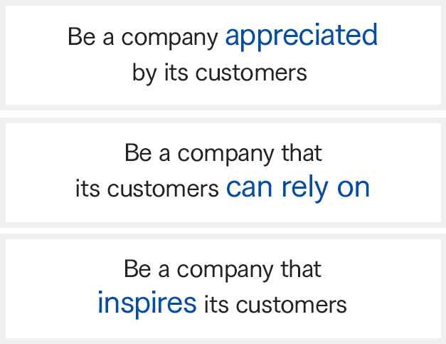 Be a company appreciated by its customers. Be a company that its customers can rely on. Be a company that inspires its customers